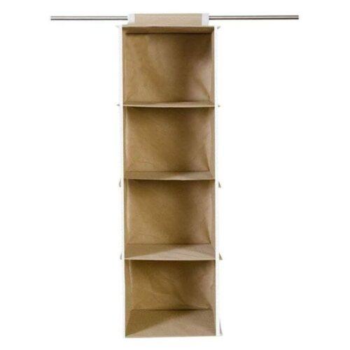 Cloth Organizer - Hanging 4 Shelves Wardrobe Organizer