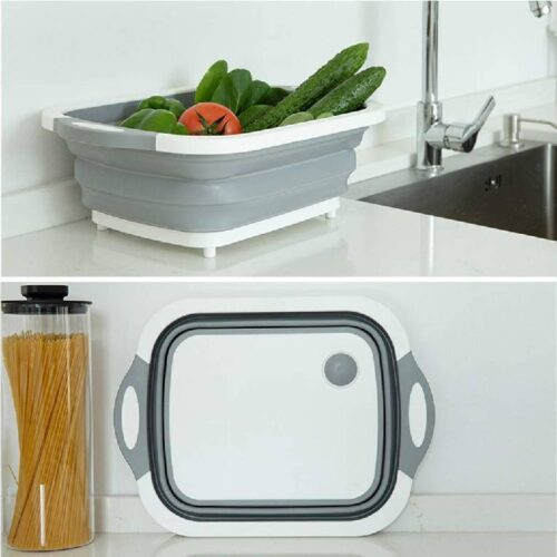 Collapsible Cutting Board with Colander Premium 3 in 1 Multifunction Veggies Washing Basket Kitchen Plastic Silicone Dish Tub Foldable Slicing and Chopping Board for Camping BBQ Prep Gray 4