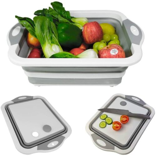 Collapsible Cutting Board with Colander- Premium 3 in 1 Multifunction Veggies Washing Basket Kitchen Plastic Silicone Dish Tub, Foldable Slicing and Chopping Board for Camping_BBQ_Prep, Gray