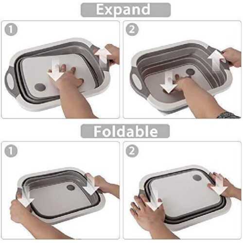 Collapsible Cutting Board with Colander Premium 3 in 1 Multifunction Veggies Washing Basket Kitchen Plastic Silicone Dish Tub Foldable Slicing and Chopping Board for Camping BBQ Prep Gray 7