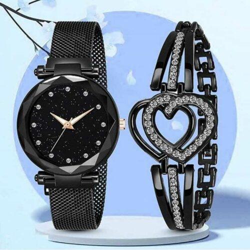 Combo of Women's Metal Watch and Bracelet