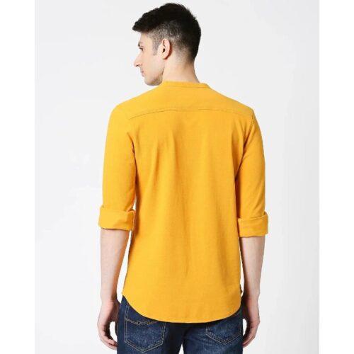 Comfort Stretch Pique Knit Mustard Shirt 1