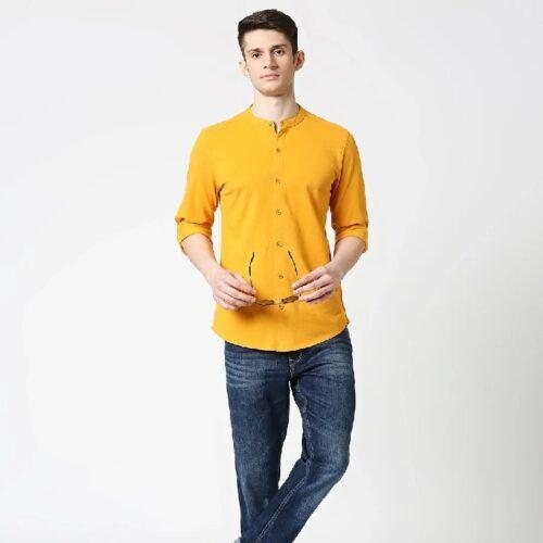 Comfort Stretch Pique Knit Mustard Shirt 2