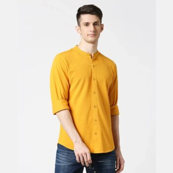 Comfort Stretch Pique Knit Mustard Shirt