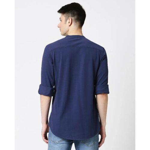 Comfort Stretch Pique Knit Navy Shirt for Men 1
