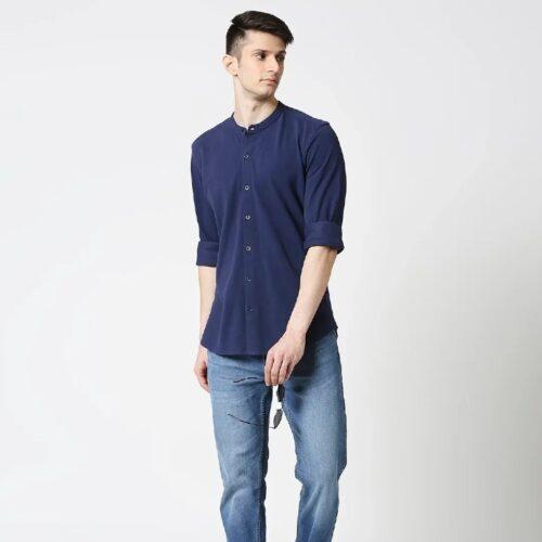 Comfort Stretch Pique Knit Navy Shirt for Men 2