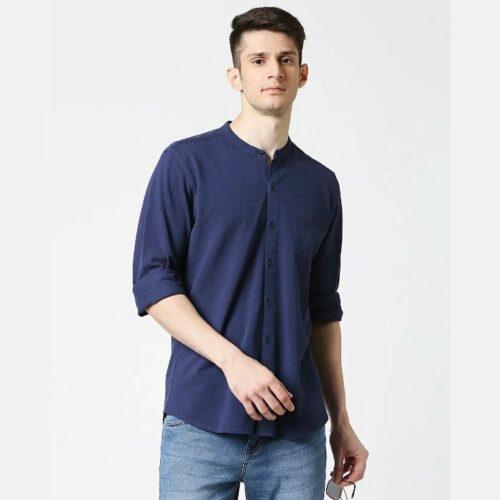Comfort Stretch Pique Knit Navy Shirt for Men