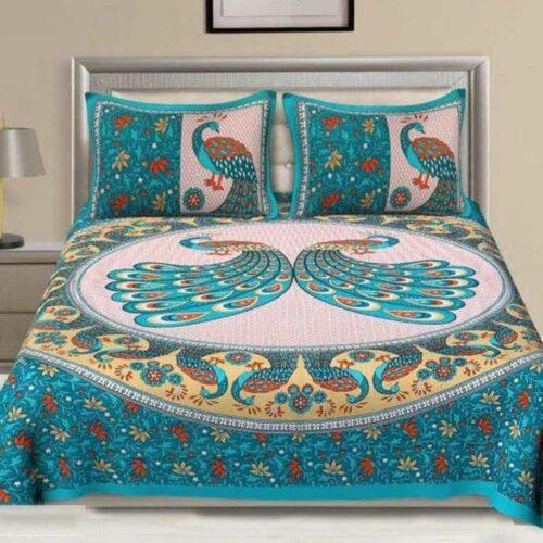 Cotton Jaipuri Printed Double Bedsheet