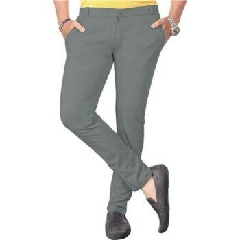 Cotton Lycra Blend Solid Slim Fit Casual Trouser for Men