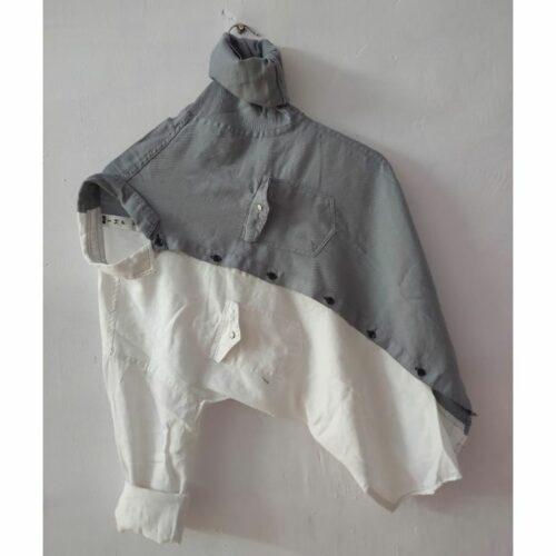 Cotton Lycra Stretchable Shirt Solid Dual Color Double Pocket Shirt for Men