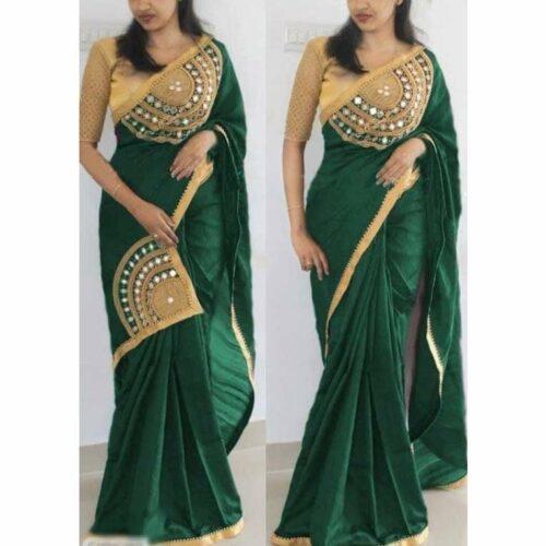Designer Embroidered Paper Silk Saree