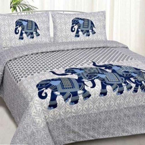 Elephant Printed Bedsheet Jaipuri Cotton Double Bedsheet
