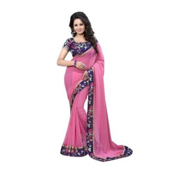 Gorgeous Solid Chiffon Saree With Printed Border