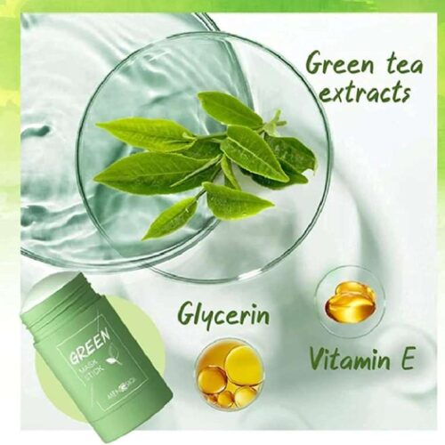Green Tea Purifying Clay Stick Mask And Deep Cleansing Oil Control And Anti Acne Solid And Fine Exfoliating Mask 40g 2