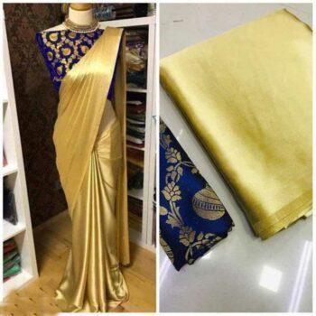 Latest Satin Silk Solid Saree With Jacquard Blouse
