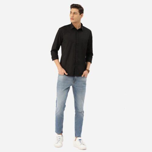Men Black Solid Classic Shirt 2