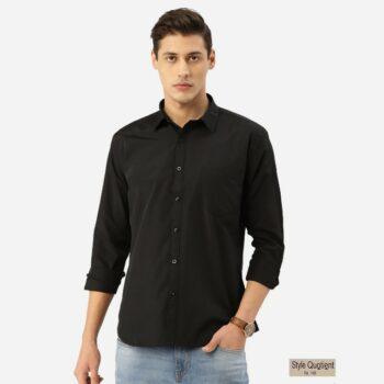 Men Black Solid Classic Shirt