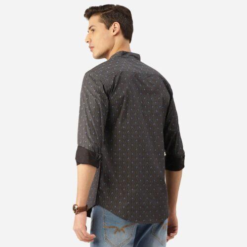 Men Charcoal Grey Blue Paisley Print Smart Shirt 1