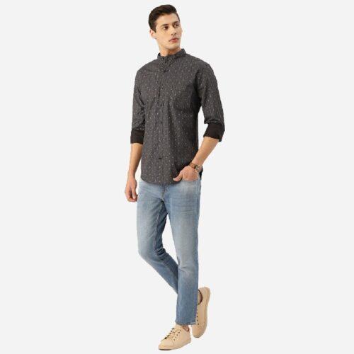 Men Charcoal Grey Blue Paisley Print Smart Shirt 2
