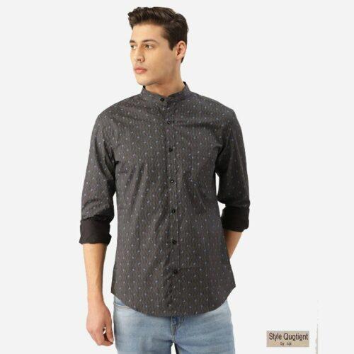 Men Charcoal Grey & Blue Paisley Print Smart Shirt