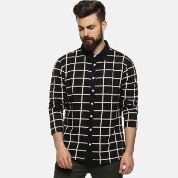 Men Checks Casual Stylish Spread Shirt