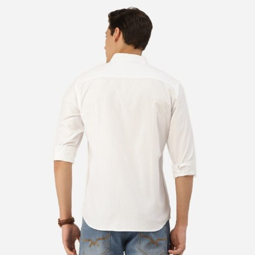 Men White Solid Classic Casual Shirt 1