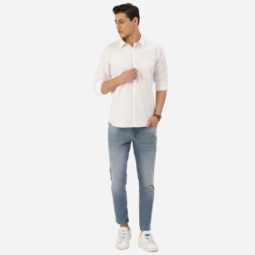 Men White Solid Classic Casual Shirt 2