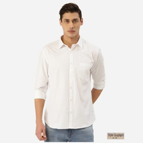 Men White Solid Classic Casual Shirt