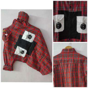 Men's 100% Cotton Lycra Shirt Full Sleeves Stretchable Shirt Checkered Double Pocket Shirt