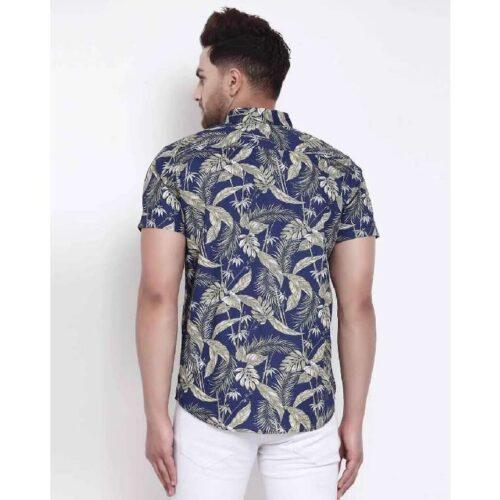 Mens Blue Floral Print Shirt