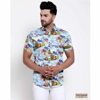 Mens-Blue-Floral-Print-Shirt