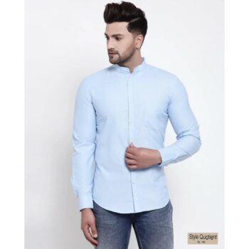 Mens-Blue-Solid-Shirt