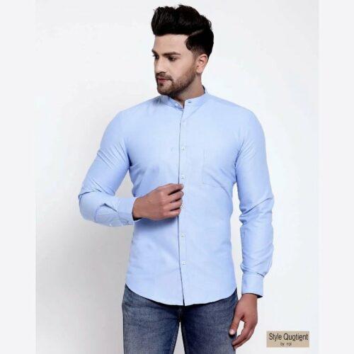 Mens Blue Solid Shirt