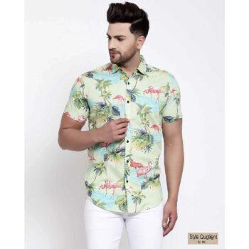 Mens Green Floral Print Shirt
