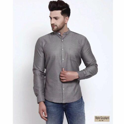 Mens Grey Solid Shirt