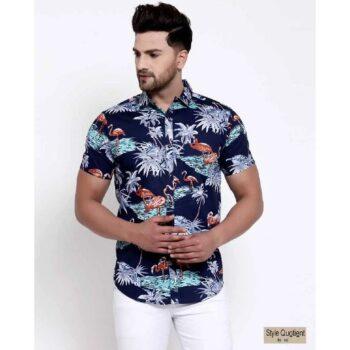 Mens Navy Blue Floral Print Shirt