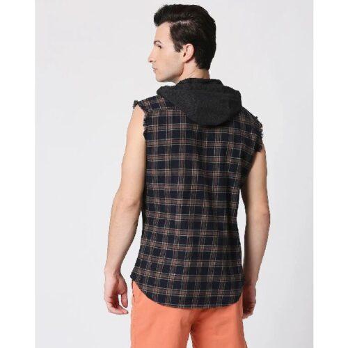 Mens Sleeveless Checks Hoodie Shirt 1