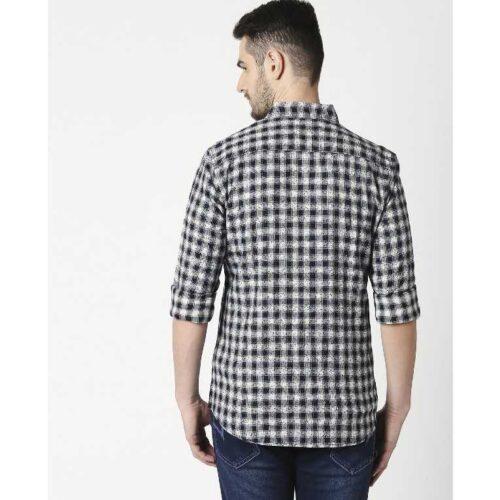 Mens Slim Fit Casual Cotton Indigo Shirt 1