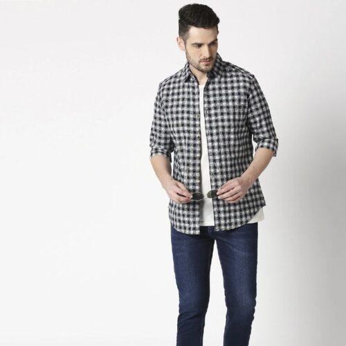 Mens Slim Fit Casual Cotton Indigo Shirt 2