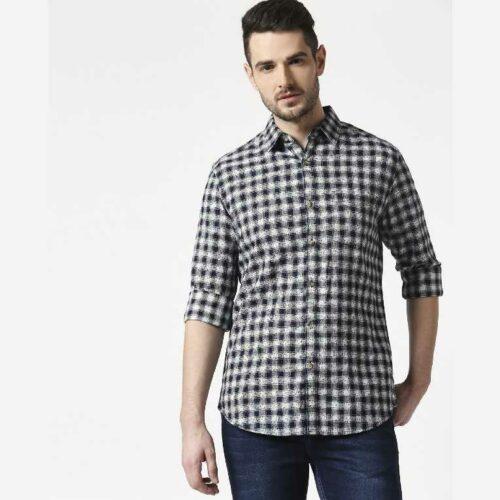Men's Slim Fit Casual Cotton Indigo Shirt