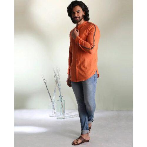 Mens Solid Orange Tape Shirt 1