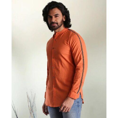 Mens Solid Orange Tape Shirt 2