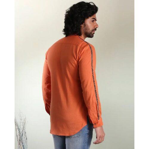 Mens Solid Orange Tape Shirt 3