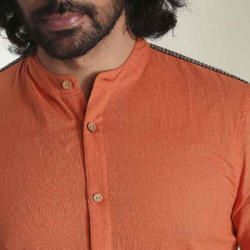 Mens Solid Orange Tape Shirt 4