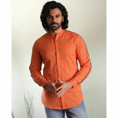 Men's Solid Orange Tape Shirt