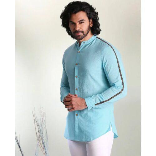 Mens Solid Sky Blue Tape Shirt 2