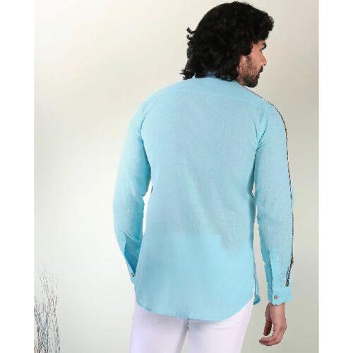 Mens Solid Sky Blue Tape Shirt 3