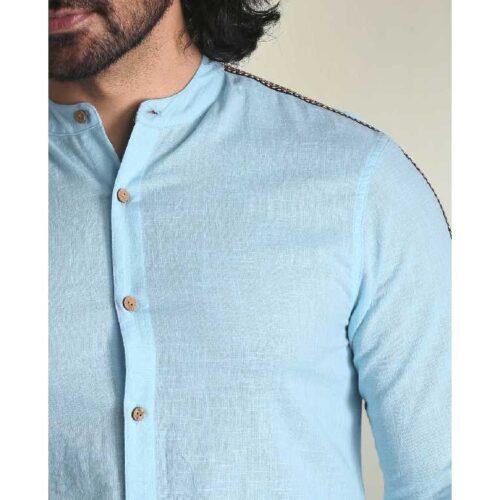 Mens Solid Sky Blue Tape Shirt 4