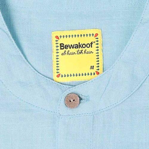 Mens Solid Sky Blue Tape Shirt 5