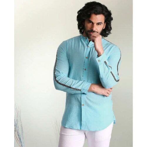 Men's Solid Sky Blue Tape Shirt